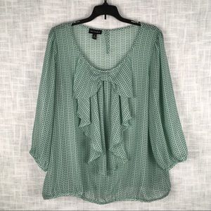 I.N. Studio ruffled sheer mint green top, size XL